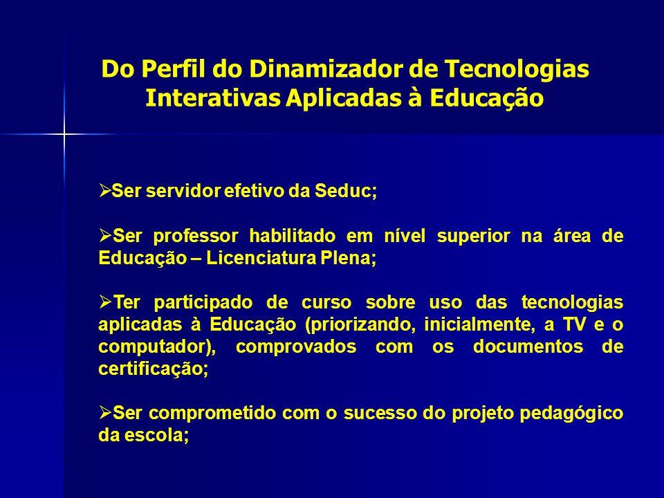 Do Perfil do Dinamizador de Tecnologias Interativas Aplicadas à Educação