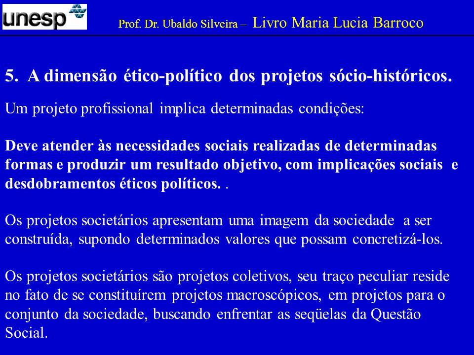 5. A dimensão ético-político dos projetos sócio-históricos.