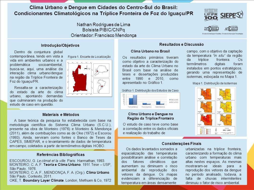 Clima Urbano e Dengue em Cidades do Centro-Sul do Brasil: Condicionantes Climatológicos na Tríplice Fronteira de Foz do Iguaçu/PR Nathan Rodrigues de Lima Bolsista PIBIC/CNPq Orientador: Francisco Mendonça