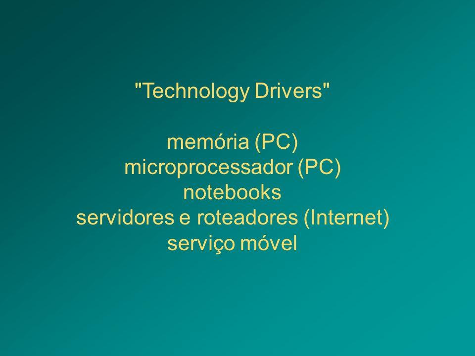 microprocessador (PC) notebooks servidores e roteadores (Internet)