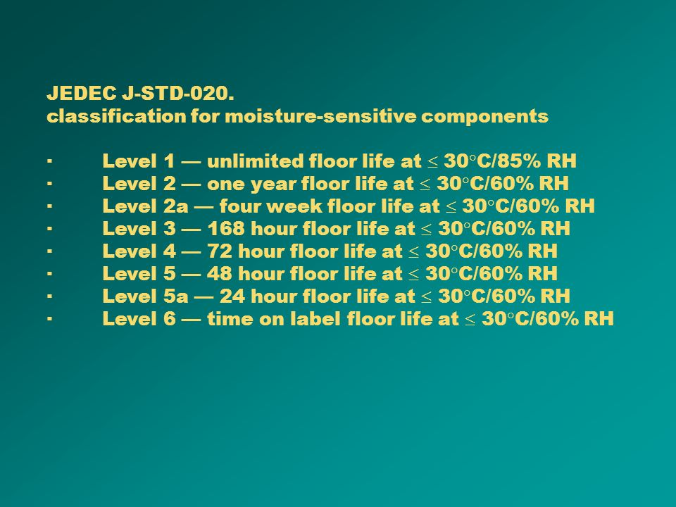 JEDEC J-STD-020. classification for moisture-sensitive components. · Level 1 — unlimited floor life at  30°C/85% RH.