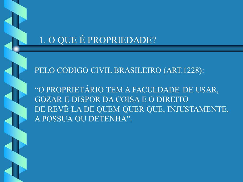 1. O QUE É PROPRIEDADE PELO CÓDIGO CIVIL BRASILEIRO (ART.1228):