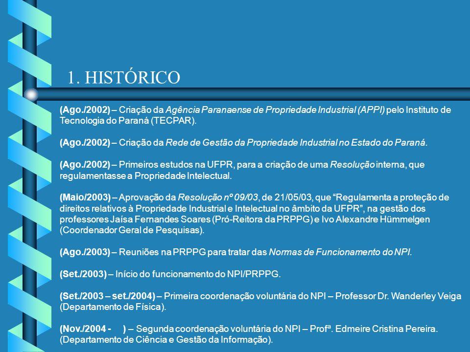 1. HISTÓRICO (Ago./2002) – Criação da Agência Paranaense de Propriedade Industrial (APPI) pelo Instituto de Tecnologia do Paraná (TECPAR).