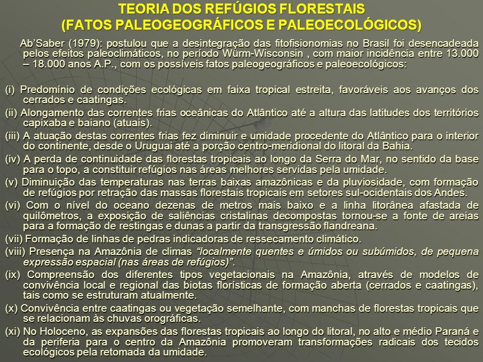 TEORIA DOS REFÚGIOS FLORESTAIS (FATOS PALEOGEOGRÁFICOS E PALEOECOLÓGICOS)