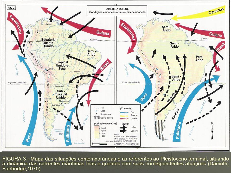 FIGURA 3 - Mapa das situações contemporâneas e as referentes ao Pleistoceno terminal, situando a dinâmica das correntes marítimas frias e quentes com suas correspondentes atuações (Damuth; Fairbridge,1970)