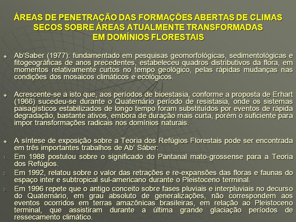 ÁREAS DE PENETRAÇÃO DAS FORMAÇÕES ABERTAS DE CLIMAS SECOS SOBRE ÁREAS ATUALMENTE TRANSFORMADAS EM DOMÍNIOS FLORESTAIS