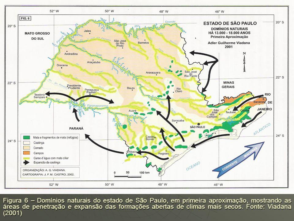 Figura 6 – Domínios naturais do estado de São Paulo, em primeira aproximação, mostrando as áreas de penetração e expansão das formações abertas de climas mais secos.