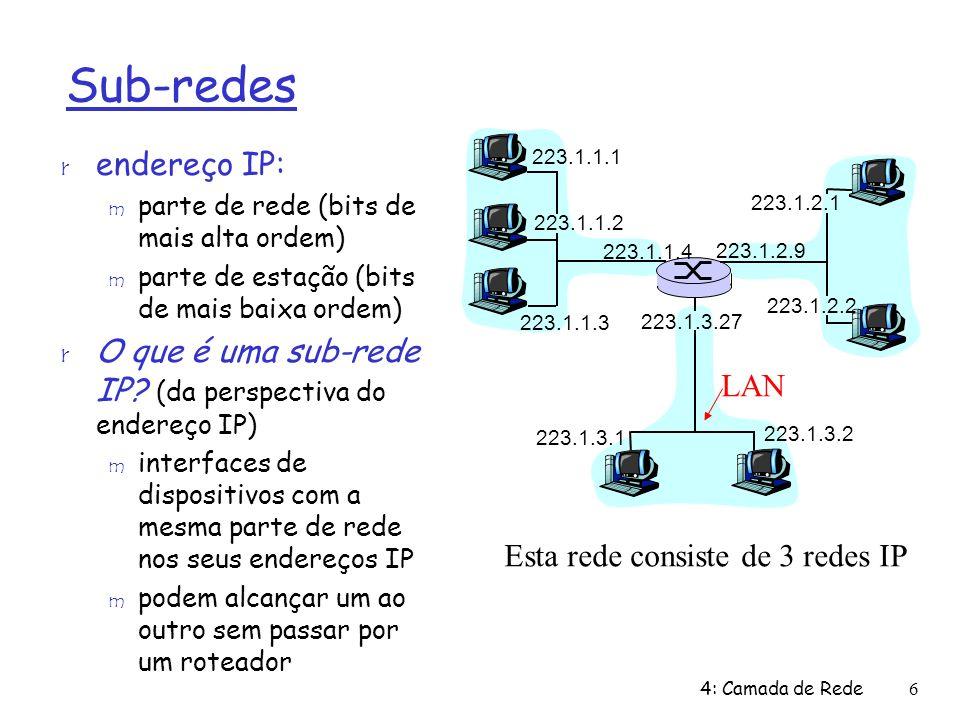 Esta rede consiste de 3 redes IP