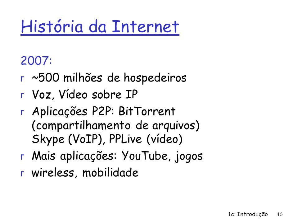 História da Internet 2007: ~500 milhões de hospedeiros