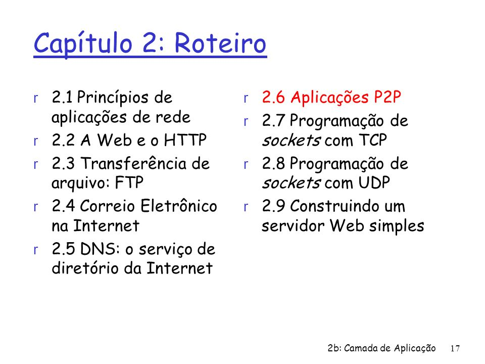 Capítulo 2: Roteiro 2.1 Princípios de aplicações de rede