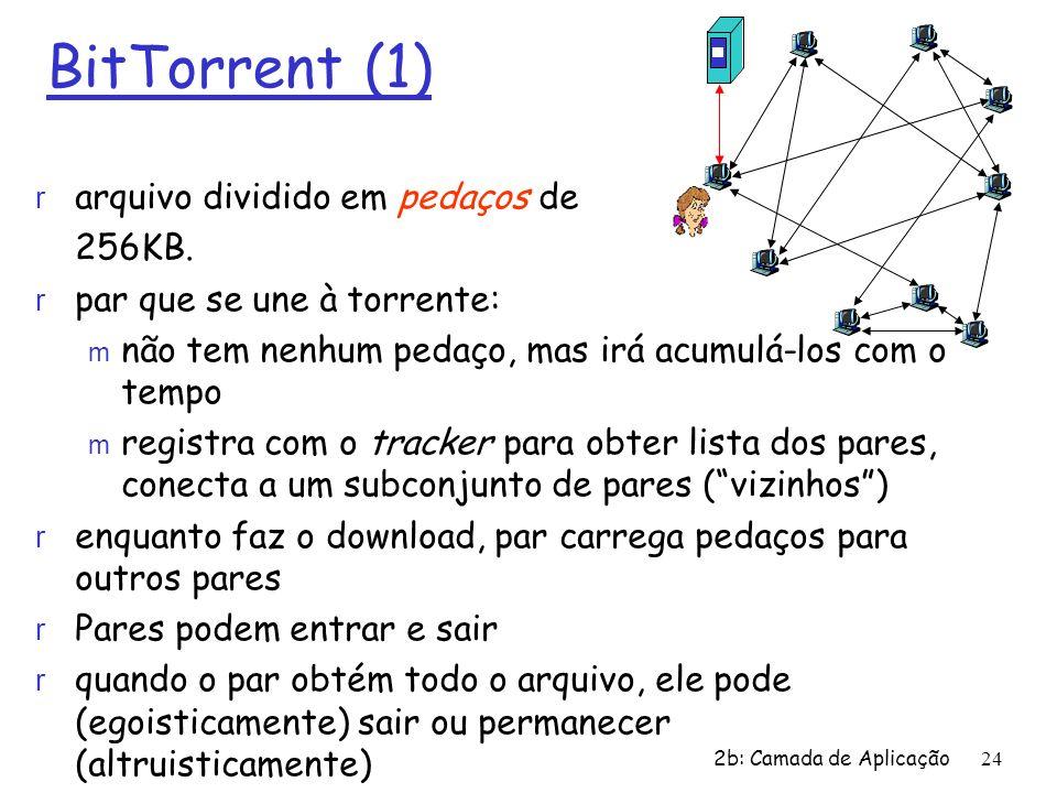 BitTorrent (1) arquivo dividido em pedaços de 256KB.