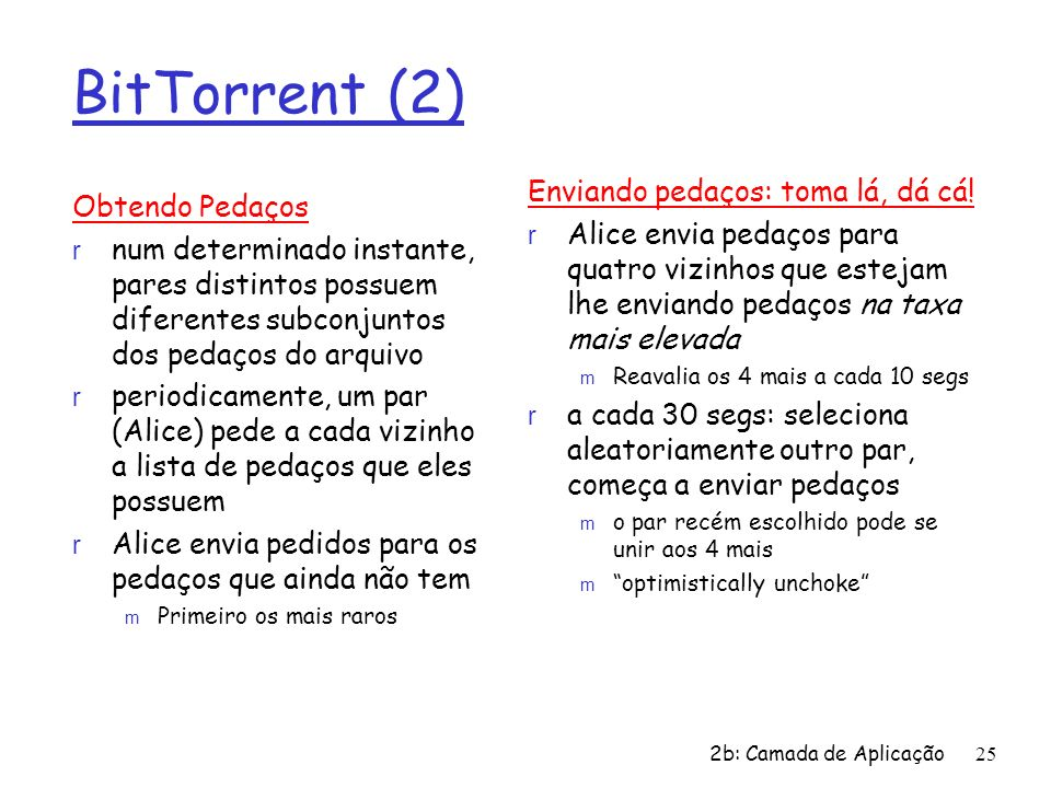 BitTorrent (2) Enviando pedaços: toma lá, dá cá! Obtendo Pedaços