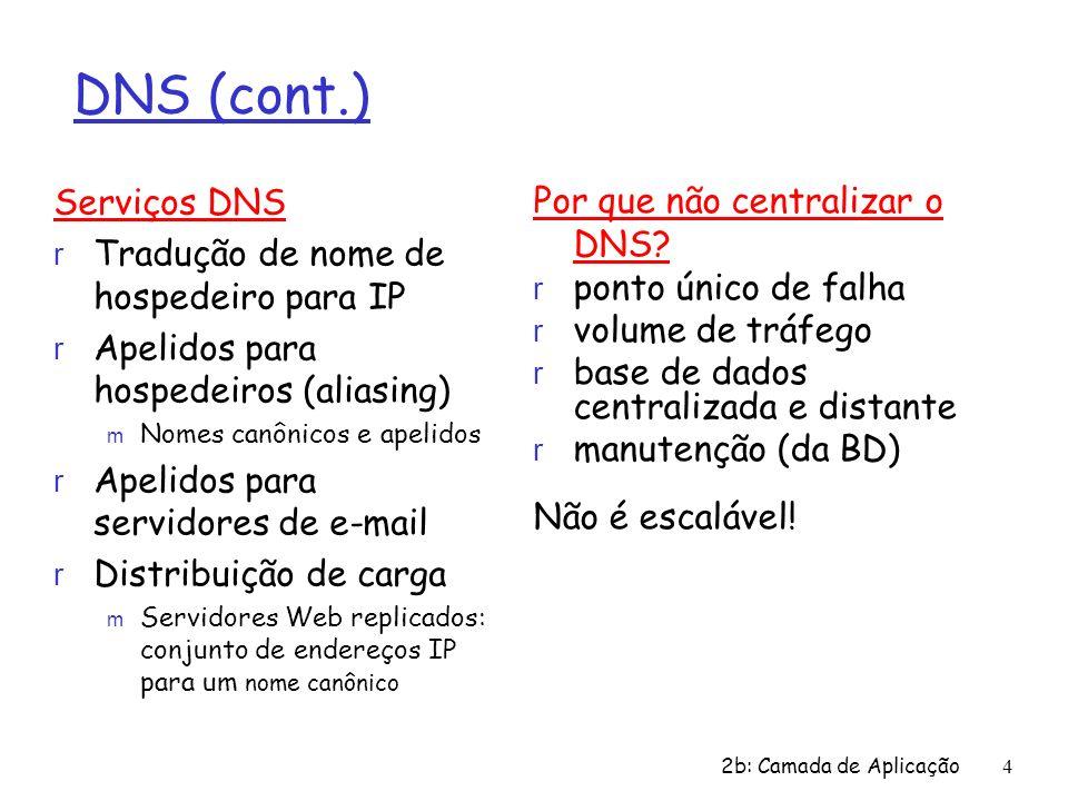 DNS (cont.) Serviços DNS Por que não centralizar o DNS