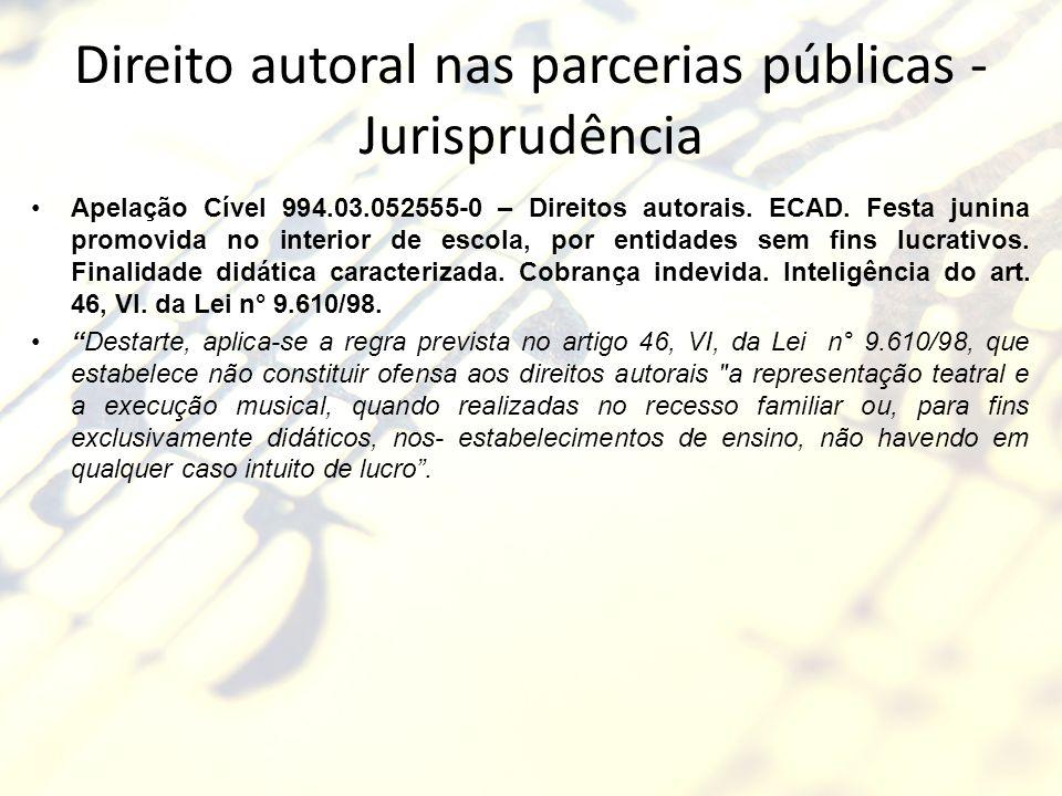 Direito autoral nas parcerias públicas - Jurisprudência