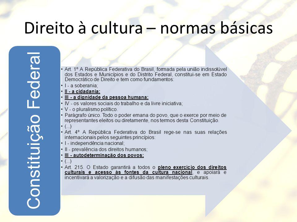 Direito à cultura – normas básicas