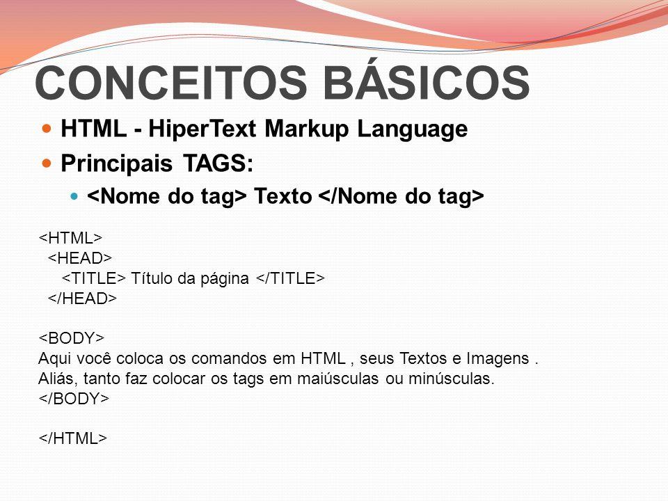 CONCEITOS BÁSICOS HTML - HiperText Markup Language Principais TAGS:
