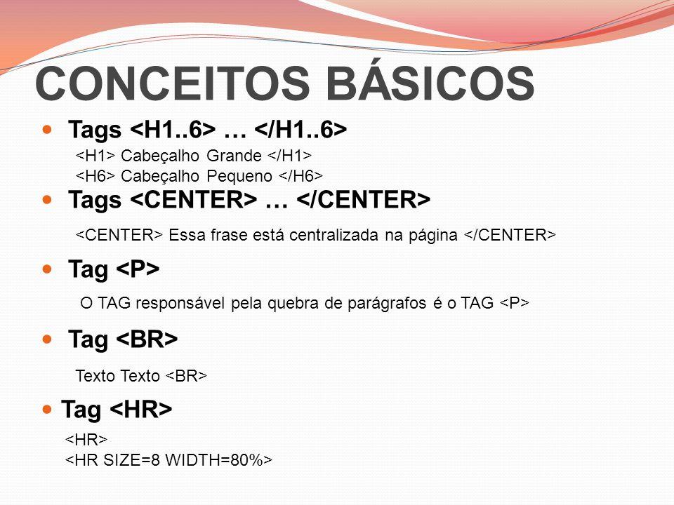 CONCEITOS BÁSICOS Tags <H1..6> … </H1..6>