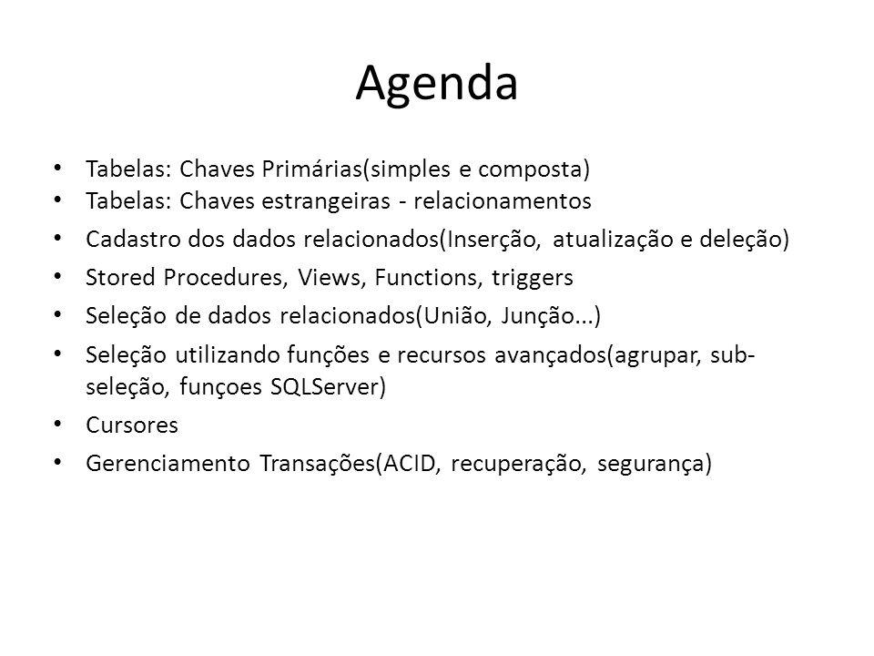 Agenda Tabelas: Chaves Primárias(simples e composta)