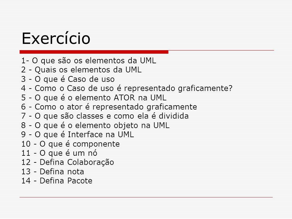 Exercício 1- O que são os elementos da UML
