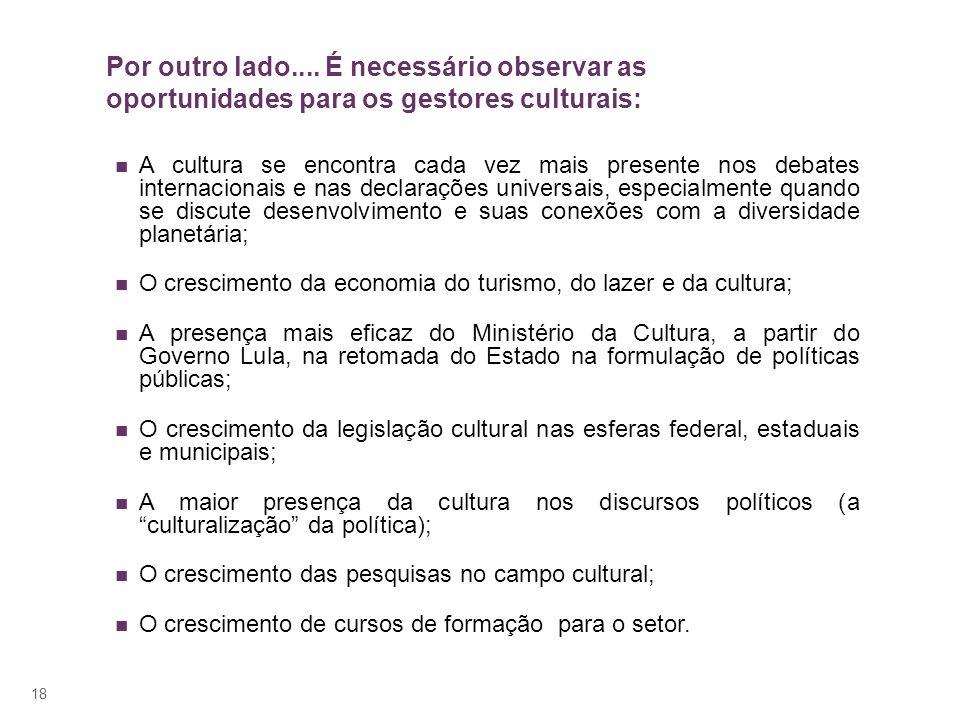 Por outro lado.... É necessário observar as oportunidades para os gestores culturais: