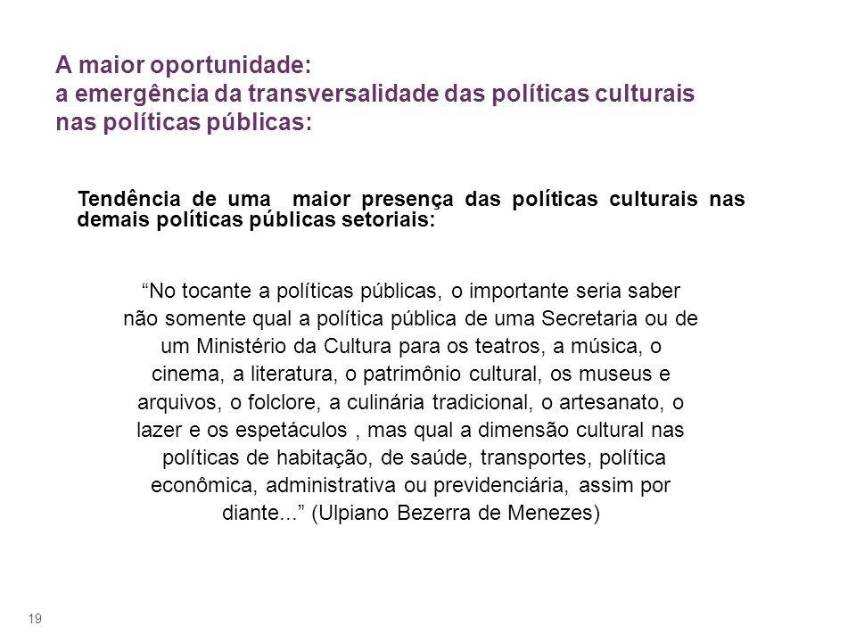 A maior oportunidade: a emergência da transversalidade das políticas culturais nas políticas públicas: