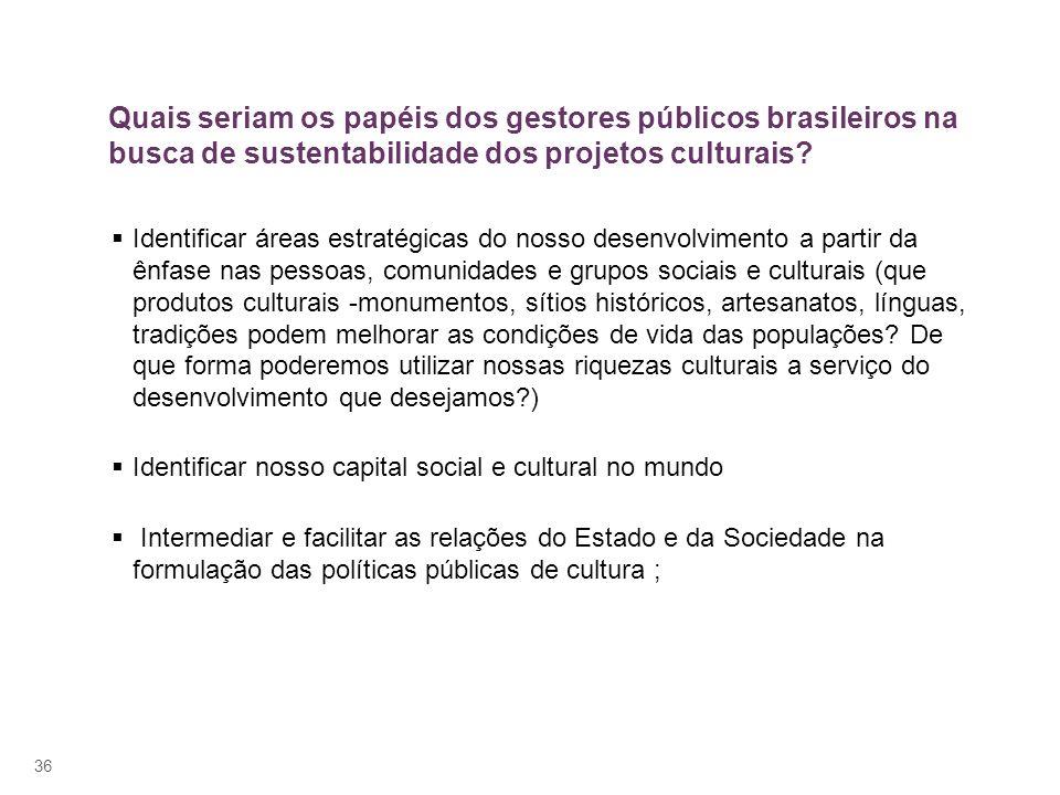 Quais seriam os papéis dos gestores públicos brasileiros na busca de sustentabilidade dos projetos culturais