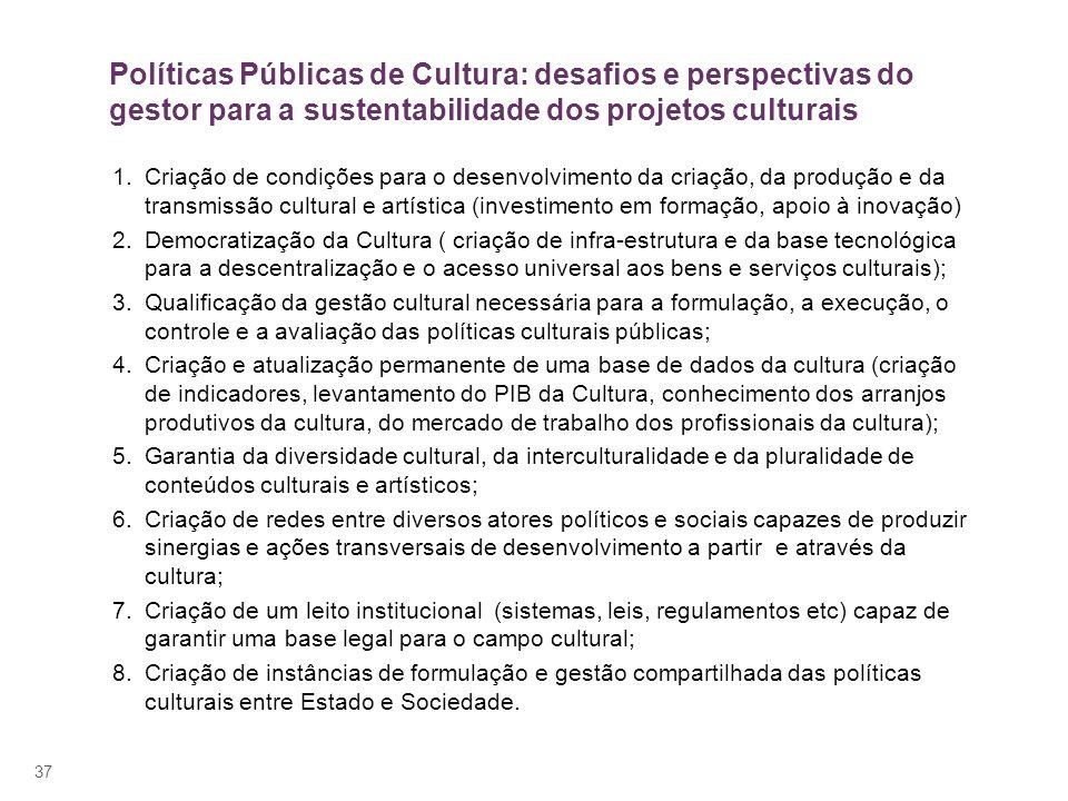 Políticas Públicas de Cultura: desafios e perspectivas do gestor para a sustentabilidade dos projetos culturais