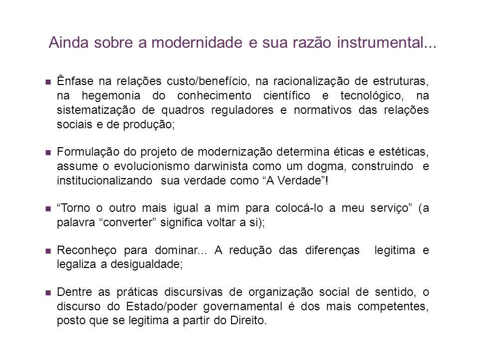 Ainda sobre a modernidade e sua razão instrumental...