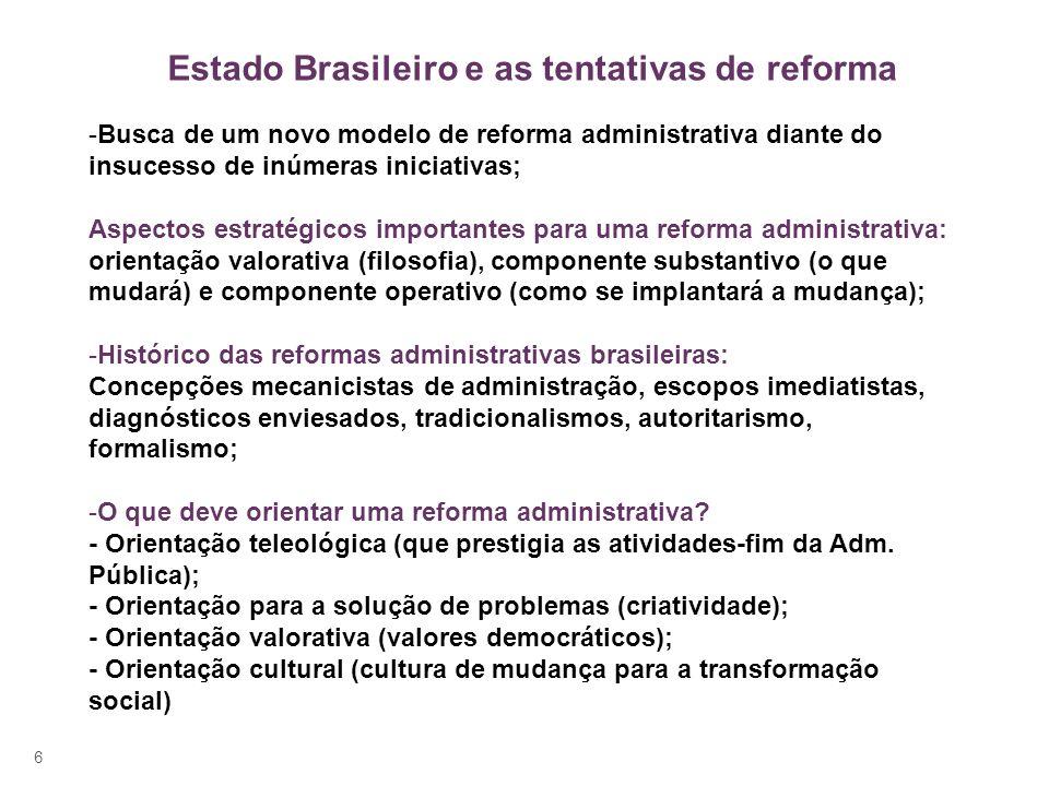 Estado Brasileiro e as tentativas de reforma