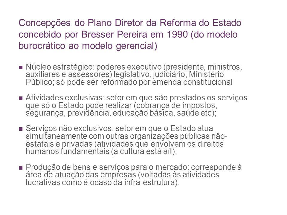 Concepções do Plano Diretor da Reforma do Estado concebido por Bresser Pereira em 1990 (do modelo burocrático ao modelo gerencial)