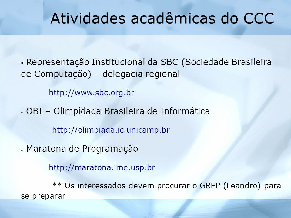 Atividades acadêmicas do CCC