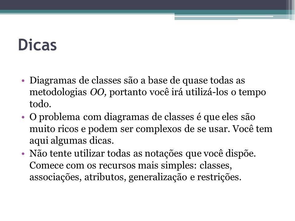 Dicas Diagramas de classes são a base de quase todas as metodologias OO, portanto você irá utilizá-los o tempo todo.