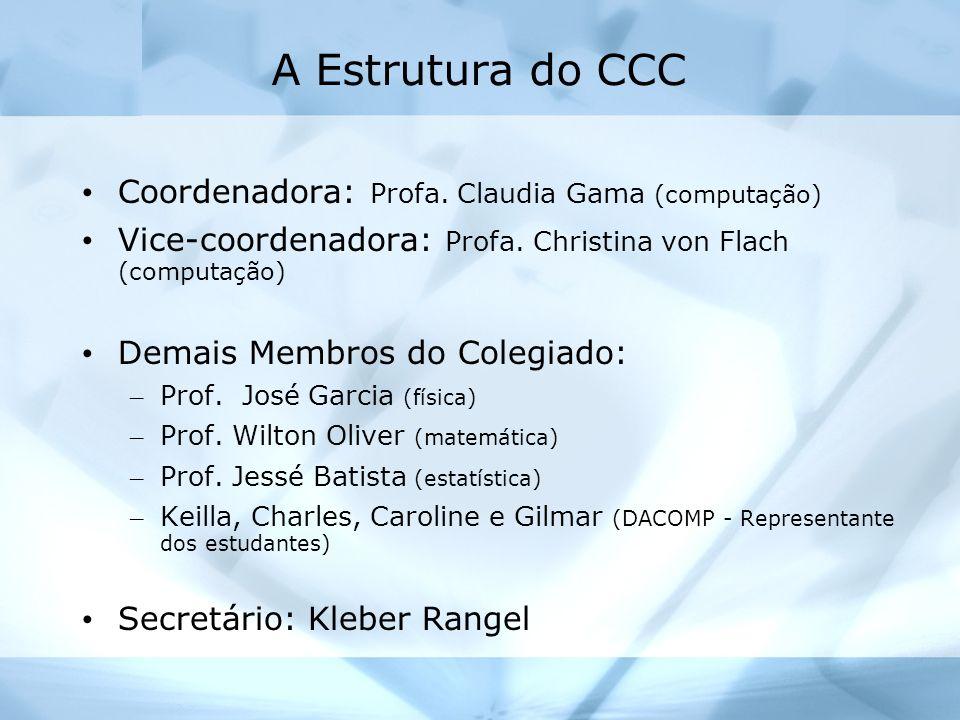 A Estrutura do CCC Coordenadora: Profa. Claudia Gama (computação)