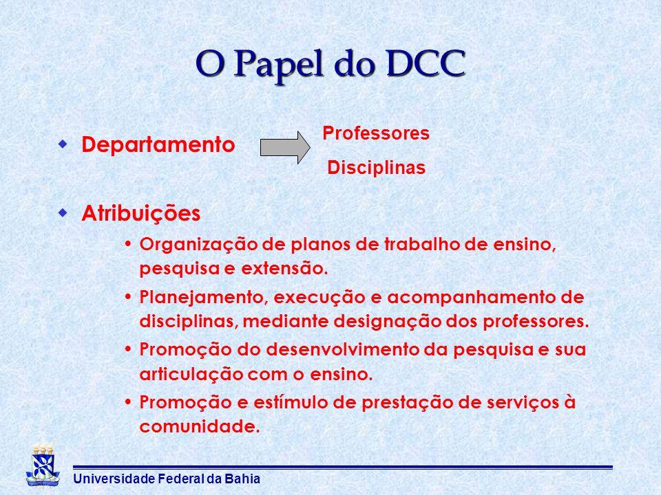 O Papel do DCC Departamento Atribuições Professores Disciplinas