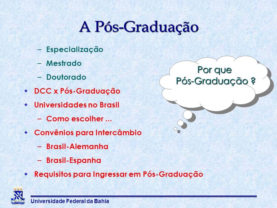 A Pós-Graduação Por que Pós-Graduação Especialização Mestrado