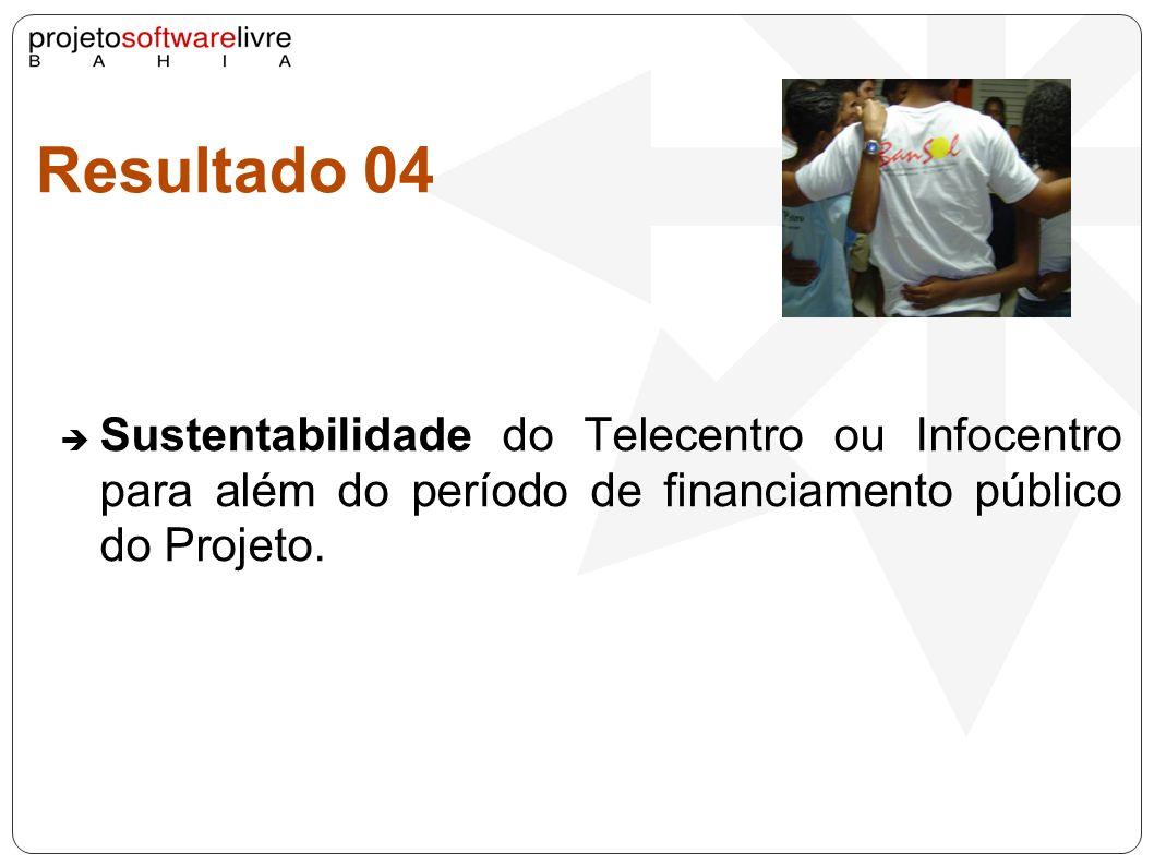 Resultado 04Sustentabilidade do Telecentro ou Infocentro para além do período de financiamento público do Projeto.