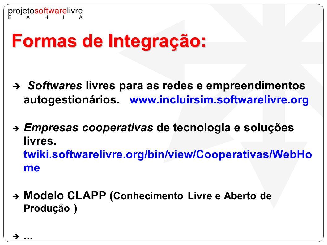 Formas de Integração:Softwares livres para as redes e empreendimentos autogestionários. www.incluirsim.softwarelivre.org.