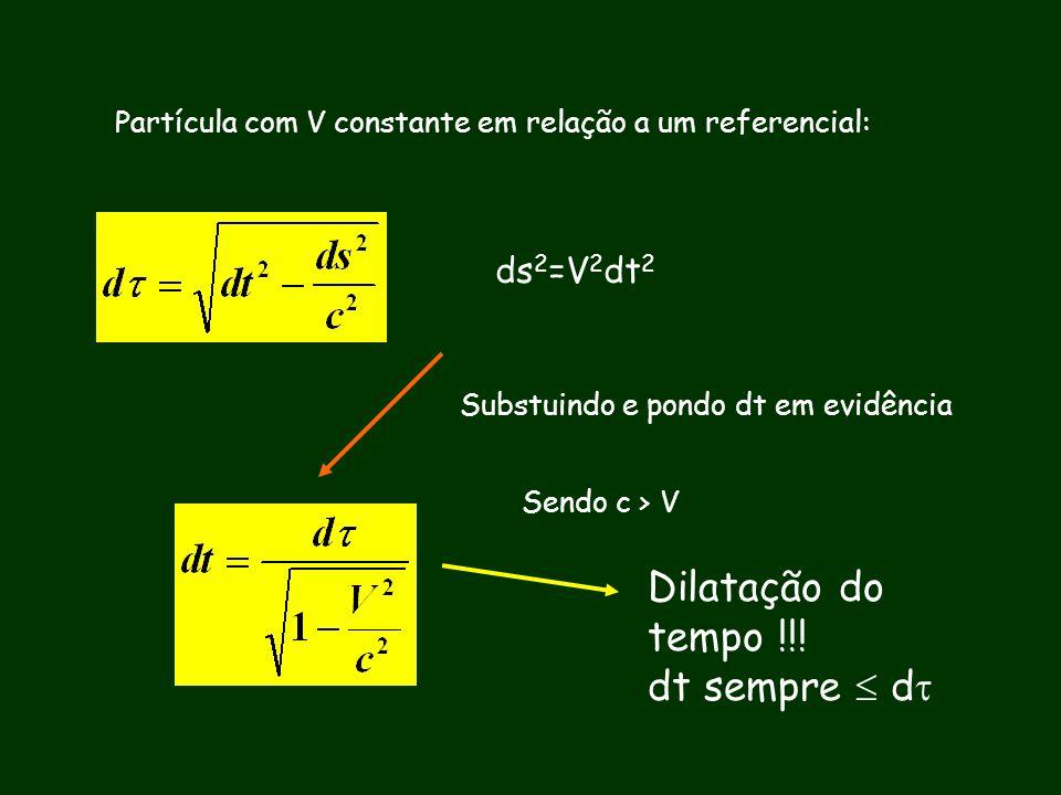 Dilatação do tempo !!! dt sempre  d ds2=V2dt2