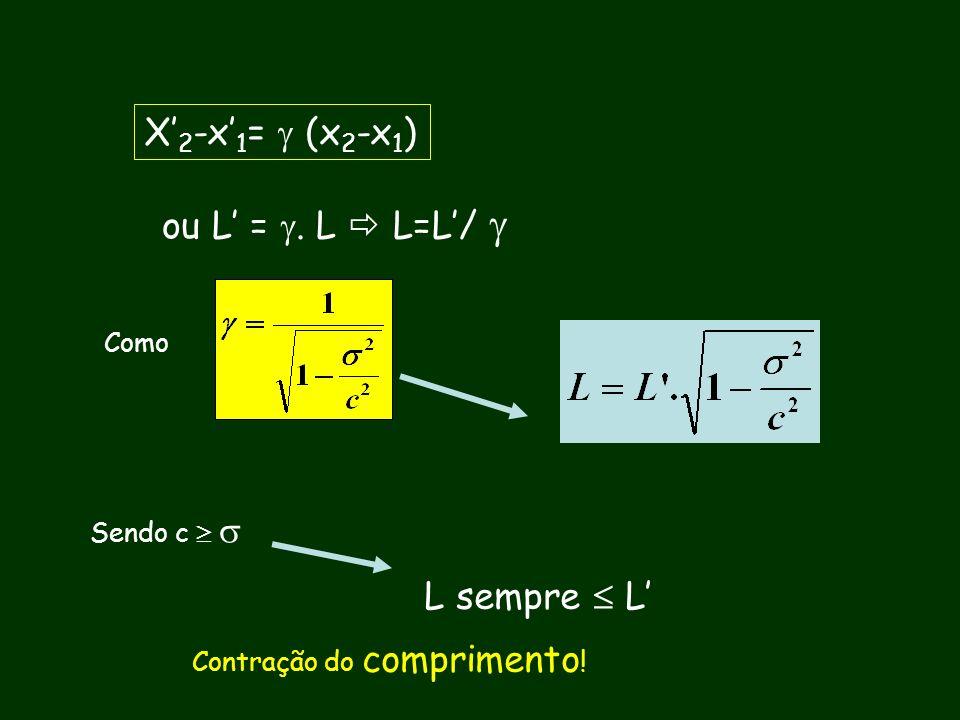 X'2-x'1=  (x2-x1) ou L' = . L  L=L'/  L sempre  L' Como