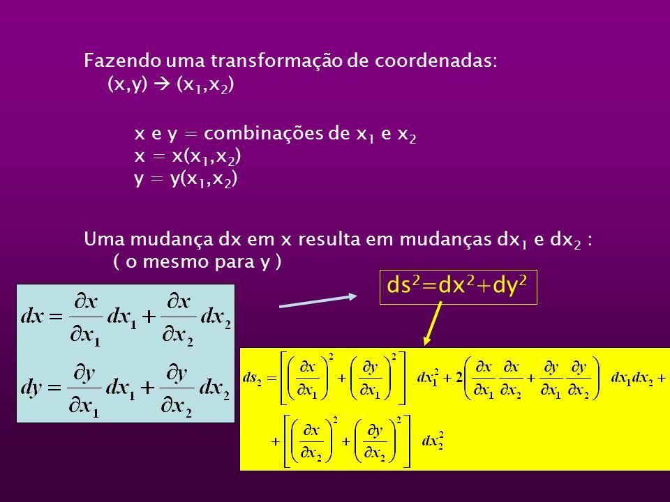 ds2=dx2+dy2 Fazendo uma transformação de coordenadas: (x,y)  (x1,x2)
