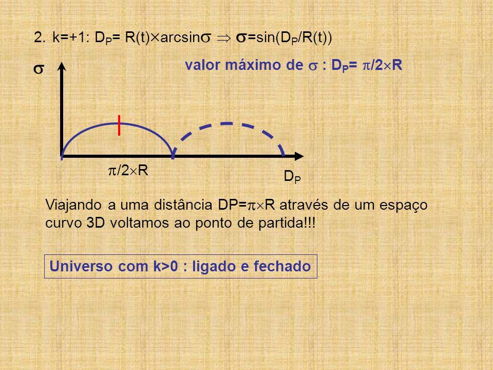  /2R k=+1: DP= R(t)arcsin  =sin(DP/R(t))