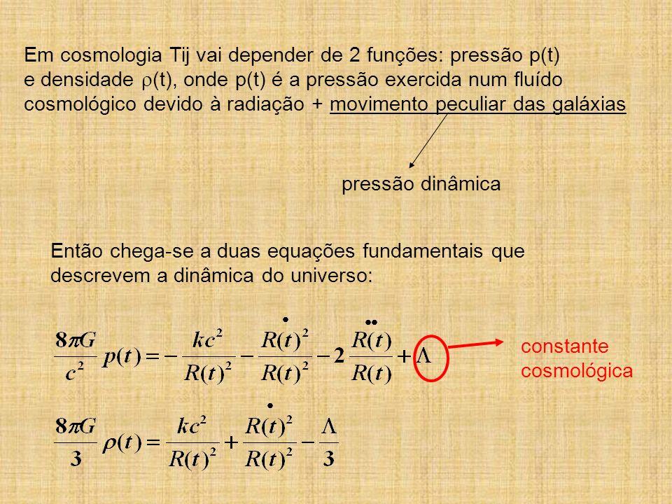 Em cosmologia Tij vai depender de 2 funções: pressão p(t)