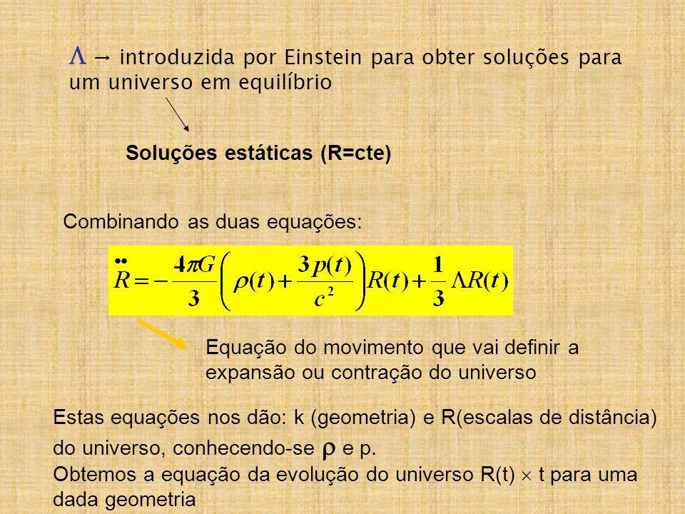  → introduzida por Einstein para obter soluções para