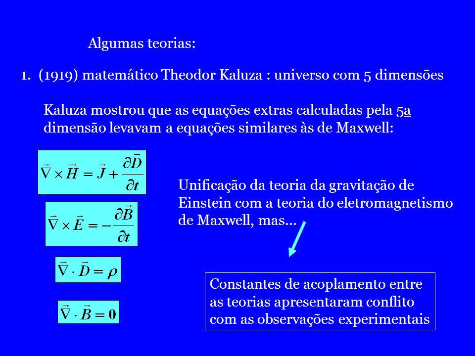 Algumas teorias: (1919) matemático Theodor Kaluza : universo com 5 dimensões. Kaluza mostrou que as equações extras calculadas pela 5a.