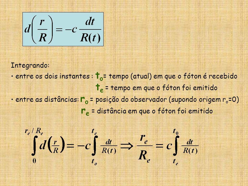 Integrando: entre os dois instantes : to= tempo (atual) em que o fóton é recebido. te = tempo em que o fóton foi emitido.