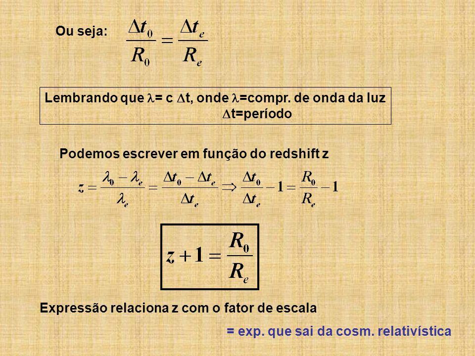 Ou seja: Lembrando que = c t, onde =compr. de onda da luz. t=período. Podemos escrever em função do redshift z.