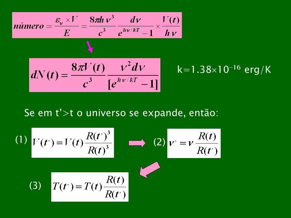 k=1.3810-16 erg/K Se em t'>t o universo se expande, então: (1) (2) (3)