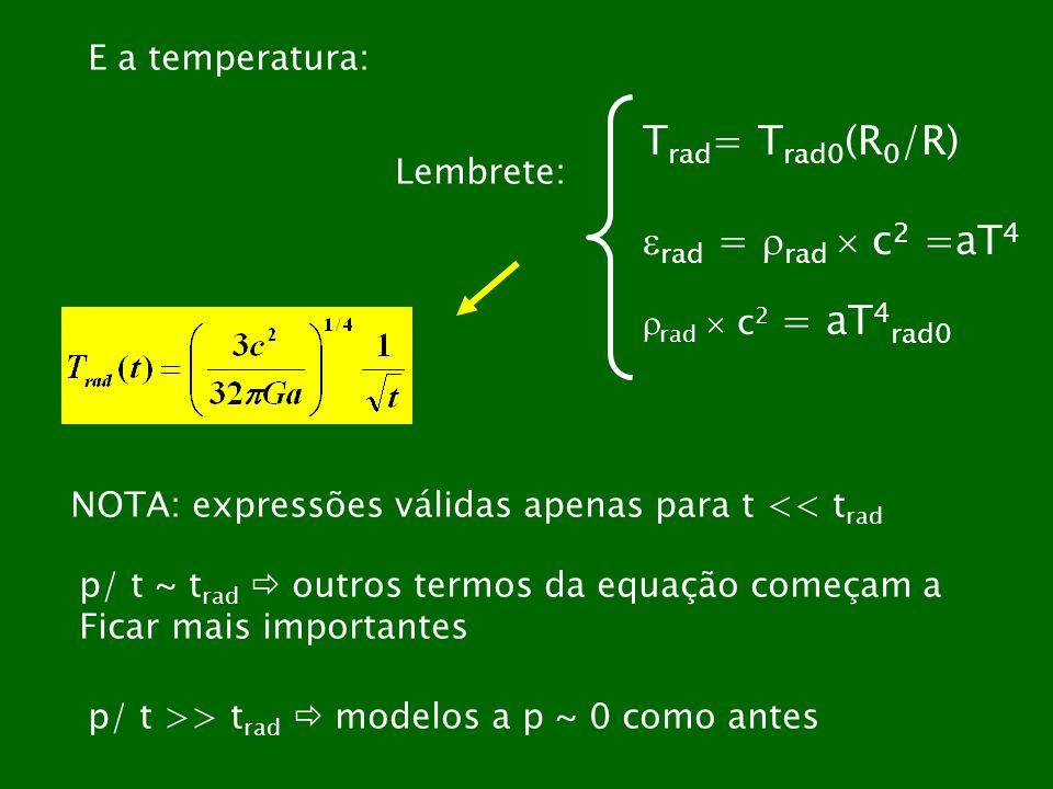 Trad= Trad0(R0/R) rad = rad  c2 =aT4 E a temperatura: Lembrete: