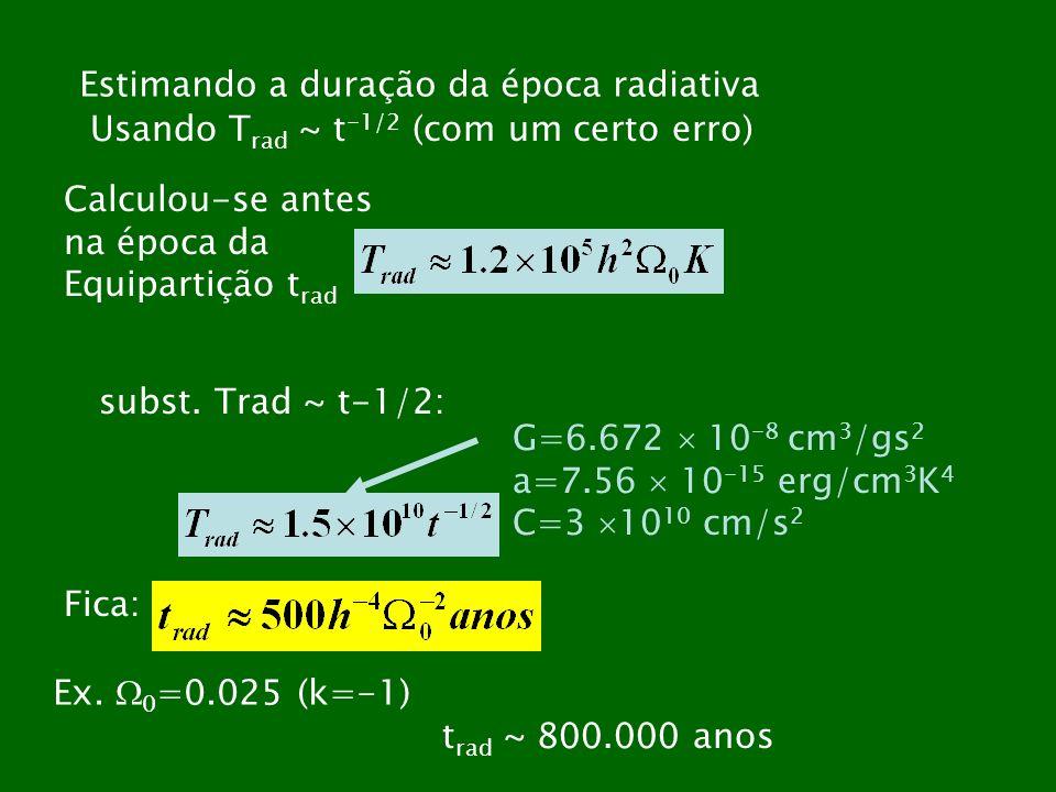 Estimando a duração da época radiativa