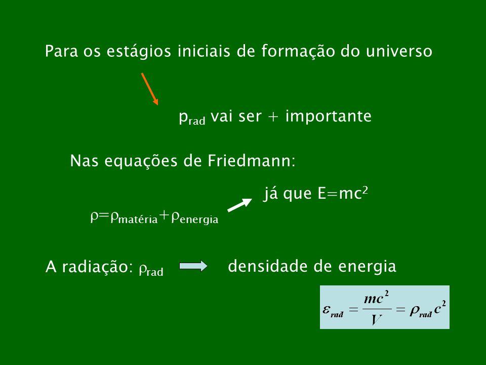 Para os estágios iniciais de formação do universo